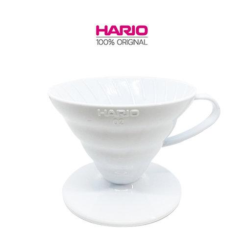 Original HARIO V60 Plastic Dripper Coffee Maker, 02, White / Red