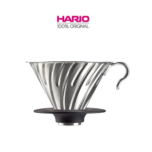 Original HARIO V60 Metal Dripper Coffee Maker, 02, Hairline Silver