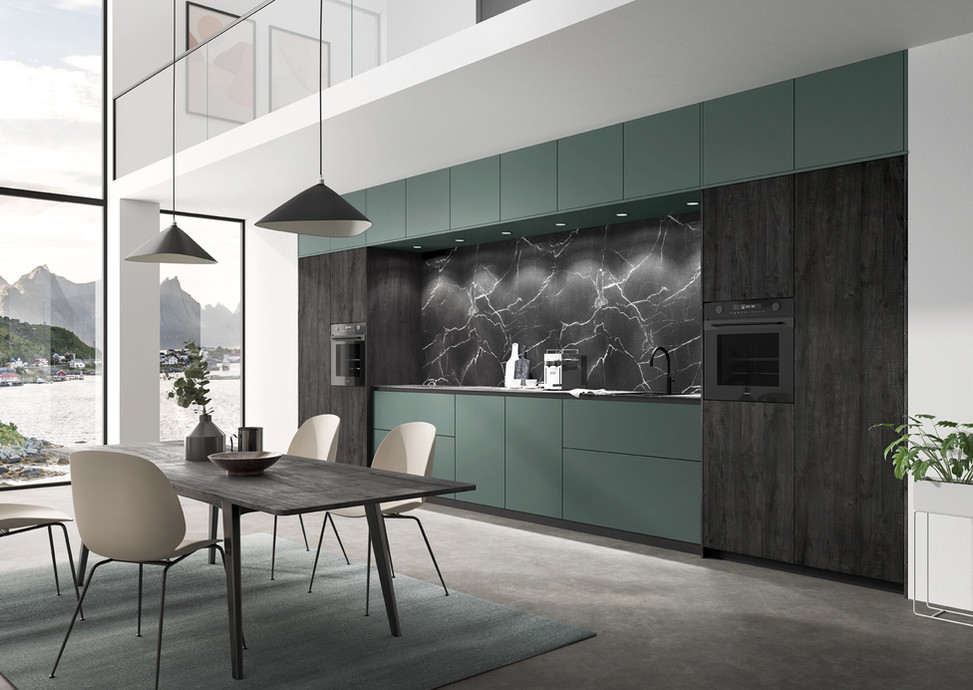 NEW! Rotpunkt Küchen Zerox FX Fenix Green | Zerox VER SY Sherwood Black