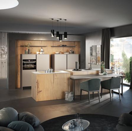№ RP 38 Кухня Rotpunkt Küchen  Zerox Edition - Abbey Split Oak KQ | Zerox - Kaschmir XT