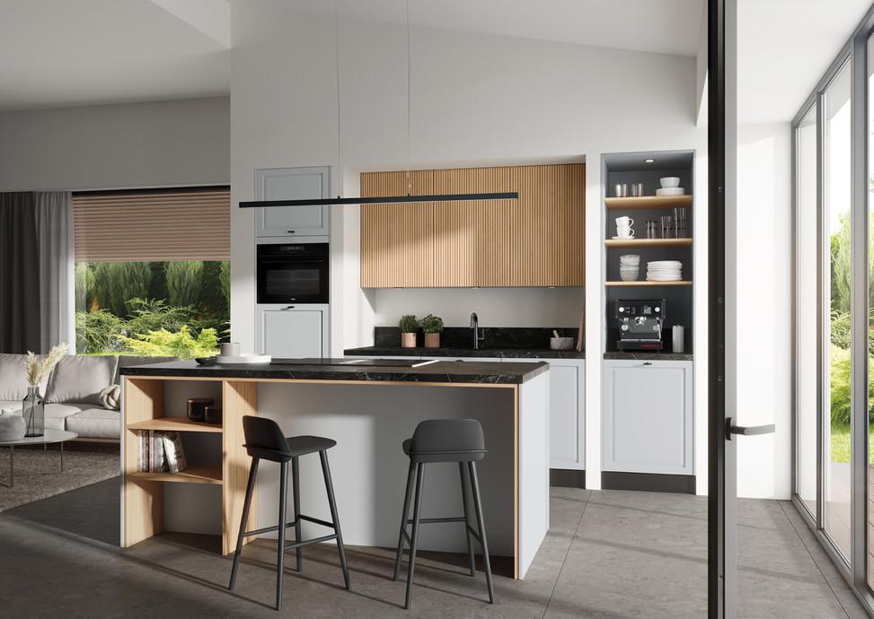 NEW! Rotpunkt Küchen Pavilo MX Just Grey |  Memory RI New Forest Oak