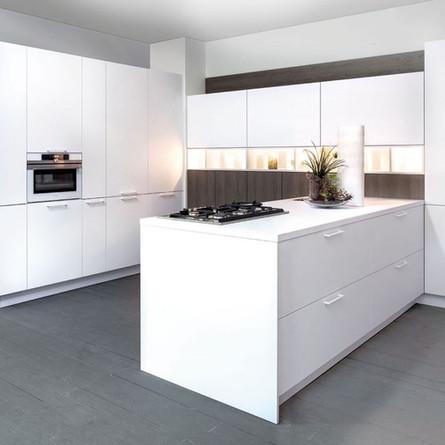№ RP 28 Кухня Rotpunkt Küchen Zerox - Snow HPL XT | Zerox - Grey Real Oak