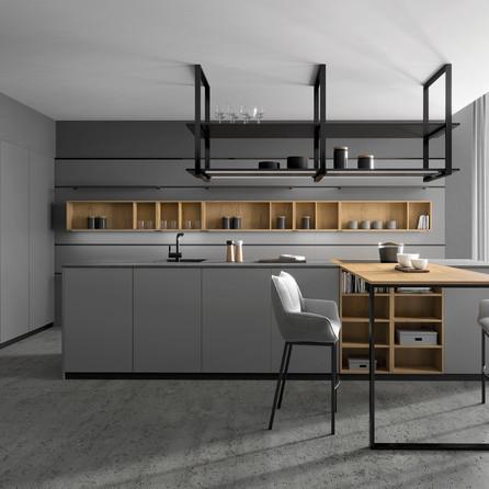 № RP 66  Кухня Rotpunkt Küchen Zerox HPL XT Lava | Zerox VER SY Nature Split Oak