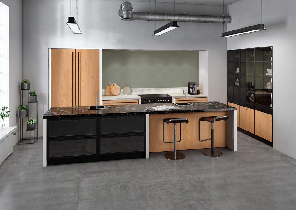 Rotpunkt Küchen Zerox Black Line VER RW Real Wood Nature | Zerox HPL XT Black