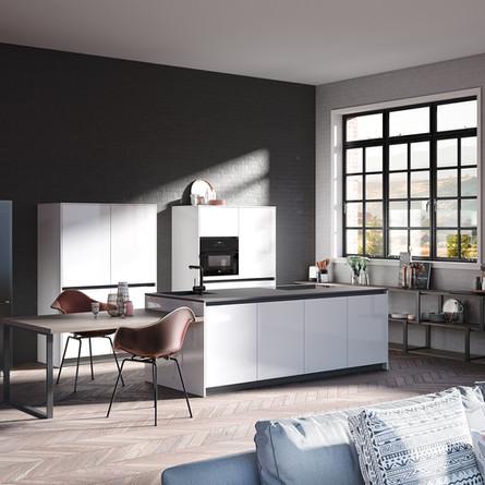 № RP 43 Кухня Rotpunkt Küchen Zerox HL - Snow HL | Zerox Edition FM - Dark Concreto FM