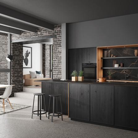 № RP 69  Кухня Rotpunkt Küchen Memory SL Zero Black| Ergo SL Zero Old Forest Oak | Smala SL Black/Old Forest Oak