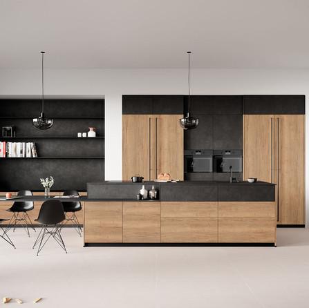№ RP 53 Кухня Rotpunkt Küchen Zerox SY VER - Old Split Oak | Zerox SY HOR - Old Split Oak | Iron KQ - Black Steel