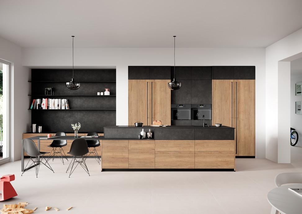 Rotpunkt Küchen Iron KQ Black Steel  Zerox HOR SY Old Split Oak | Zerox VER SY Old Split O