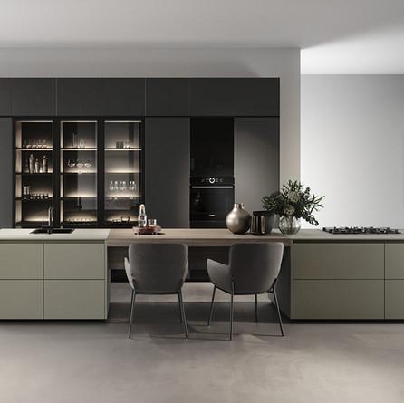 № RP 48 Кухня Rotpunkt Küchen Zerox HPL XT - Umbra XT | Zerox HPL XT - Lava XT | Class VI - Black HL