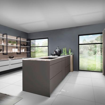 № RP 39 Кухня Rotpunkt Küchen Zerox Black Line - Umbra HPL XT | Zerox - Kaschmir XT | Zerox - City Grey Oak FM