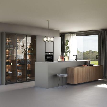 № RP 37 Кухня Rotpunkt Küchen Zerox Edition - Umbra Marble FM | Karo - City Brown Oak FM