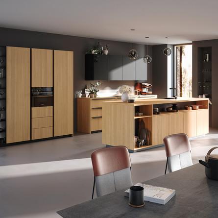 № RP 46 Кухня Rotpunkt Küchen Zerox VER FM - City Nature Oak FM | Zerox HPL XT - Black XT