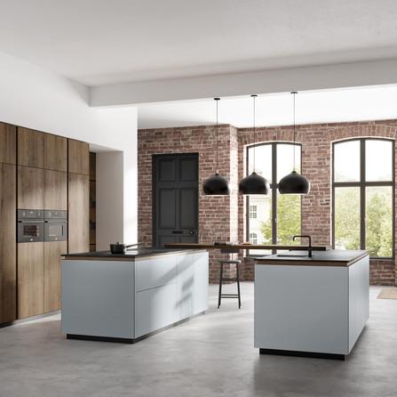 № RP 67  Кухня Rotpunkt Küchen HPL XT Just Grey | Zerox VER SY Dark Split Oak