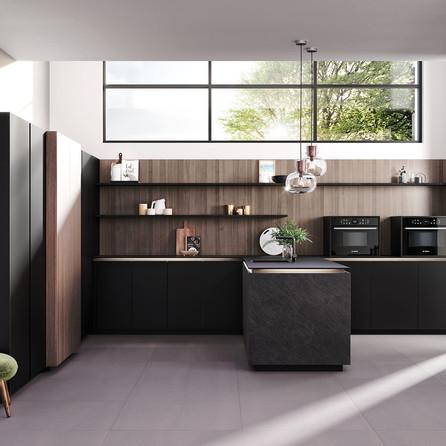 № RP 58 Кухня Rotpunkt Küchen Ceramica CE - Black Rock CE | Zerox VER FM - City Brown Oak FM | Zerox HPL FX - Fenix Black