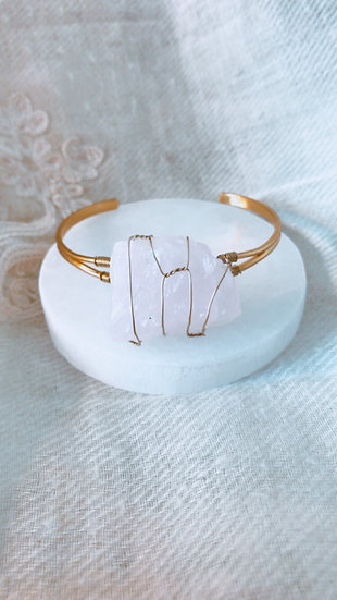 Bracelete de quartzo rosa