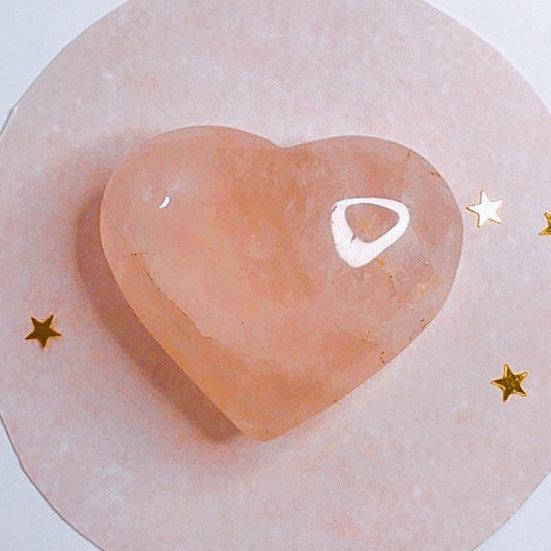 Coração de quartzo rosa - P