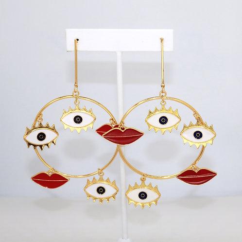 Multi Eyes & Lips Hoops