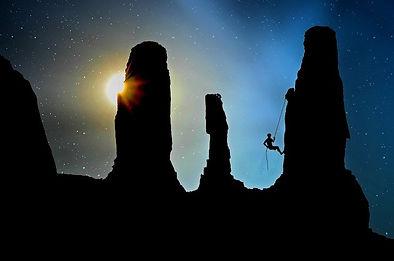just add hustle rock climbing at sunset