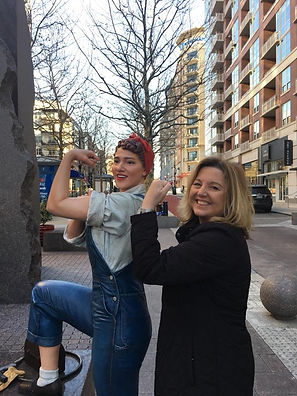 Female role model for female copywriters, Kim, with Rosie the Riveter