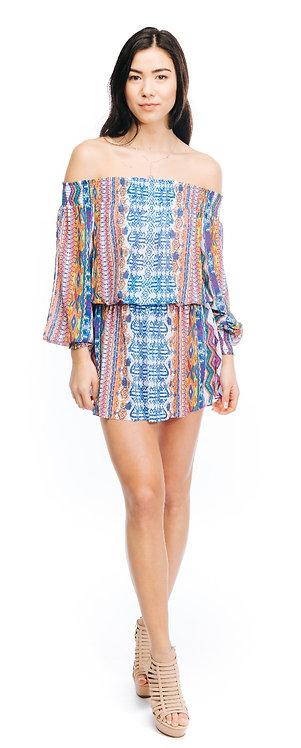 Ramy Brook Printed Lucia Dress Santorini Print/Azure Combo