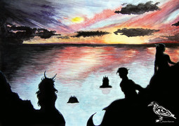 mermaid shoal at sunset WM.jpg