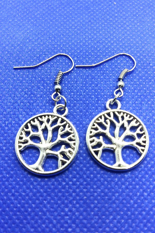 Tree of Life Earrings - Silver Circle