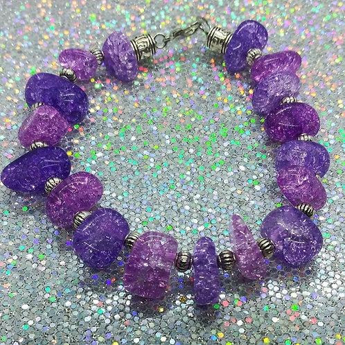 Purple Crackle Nugget Bracelet