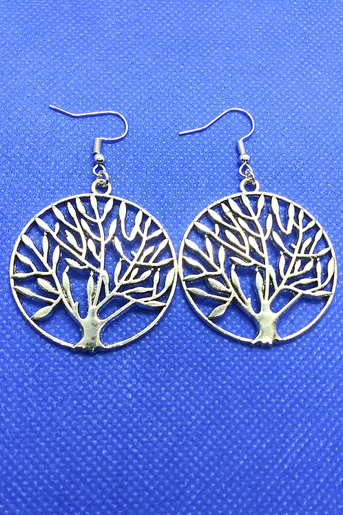 Tree of Life Earrings- Large Silver Circle