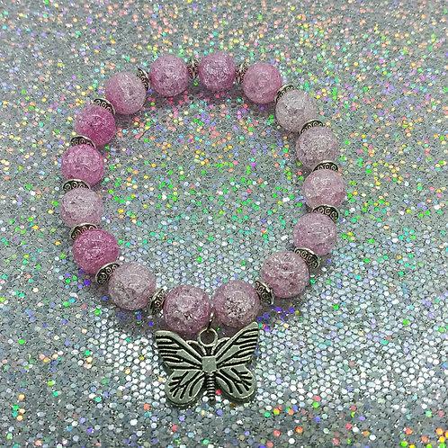 Pink Crackle Charm Bracelet