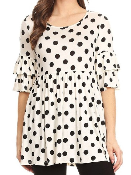 Women's Polka Dot Babydoll Tunic Top