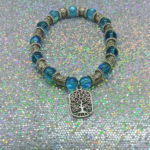 Tree Of Life Aqua Bead Charm Bracelet