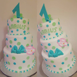 Cake Boy Blanc & Vert et Bleu