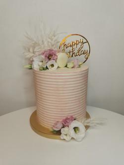 Layer cake rayé rose