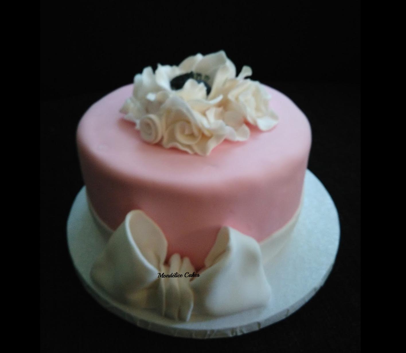 Cake simple Rose et Blanc