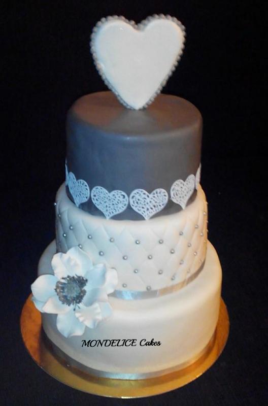 Wedding Cake Romantique Gris & Blanc