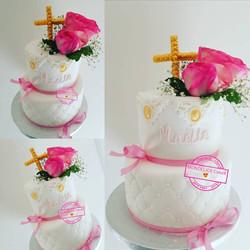 Cake Bapteme girl Flowers