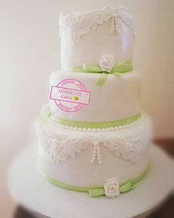 Wedding Cake Blanc & Vert Anis