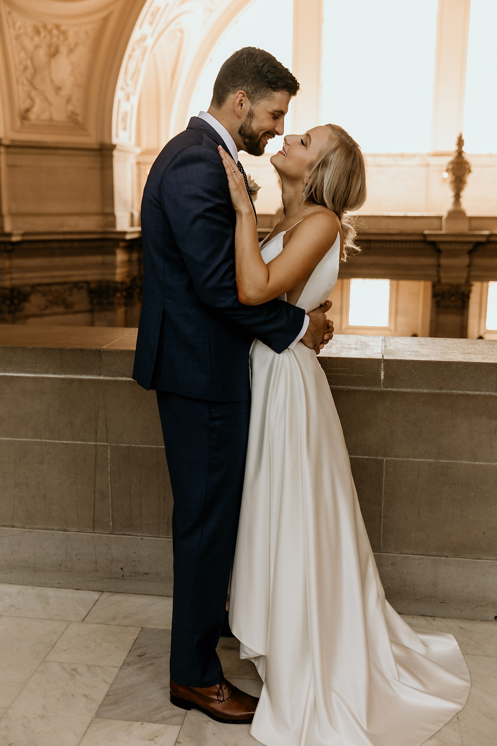 Modern wedding design in traditional architecture of San Francisco City Hall wedding