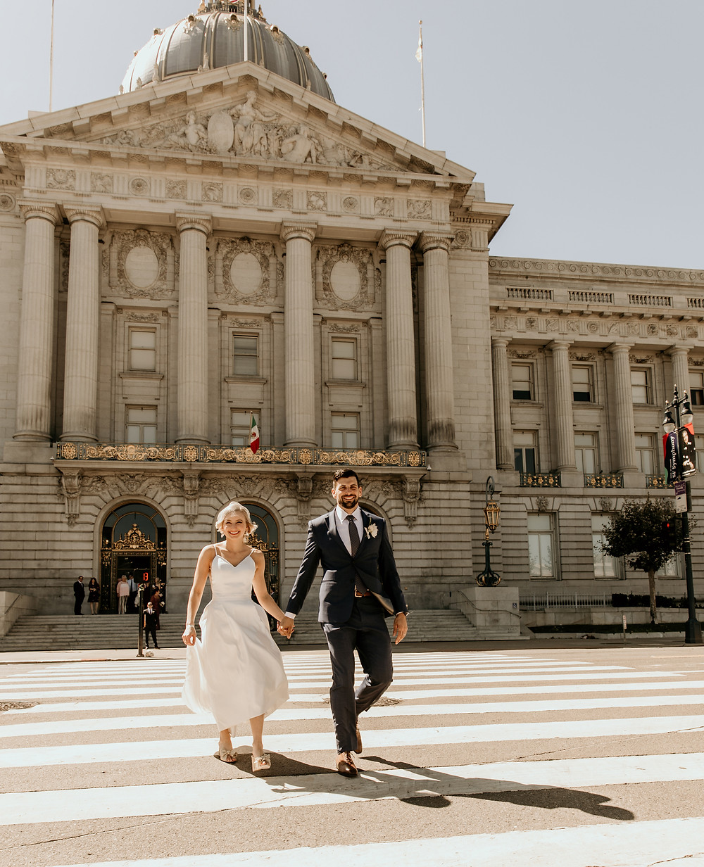 Wedding portraits of modern city wedding in San Francisco CA, with the wedding ceremony at San Francisco City Hall and wedding reception at Bluxome Street Winery for an industrial meets traditional elements.