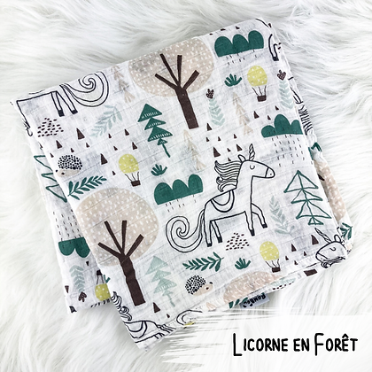 Licorne en Foret - Doudou Mousseline