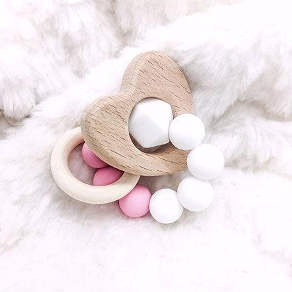 Cœur rose - jouet de dentition