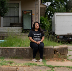 Dalila Reynoso near the door where detainees were released from the Smith County jail in Tyler, Texas, in March.