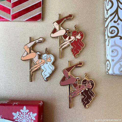 Reindeer Pole Dancing Gold Enamel Pin