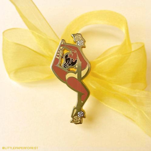 Music Box (Yellow) Pole Dancing Gold Enamel Pin