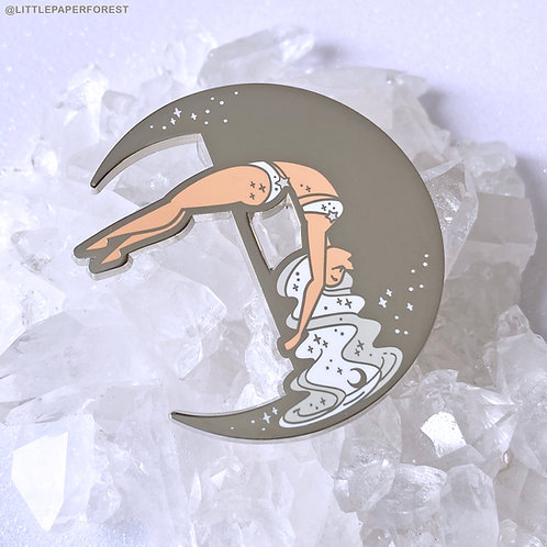 Crescent Moon (White & Silver) Pole Dancing Enamel Pin