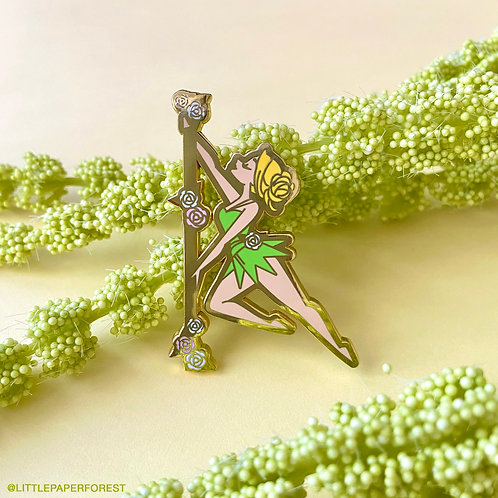 Tinkerbell (Blonde) Pole Dancing Gold Enamel Pin