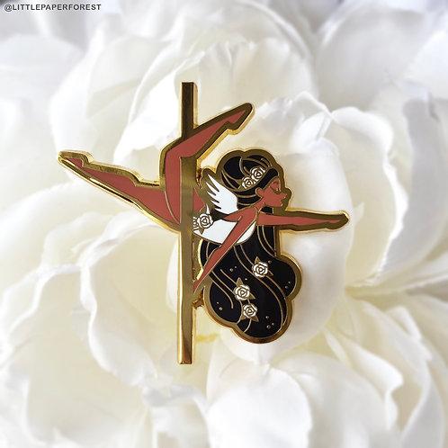 Eros (Black Hair) Pole Dancing Gold Enamel Pin