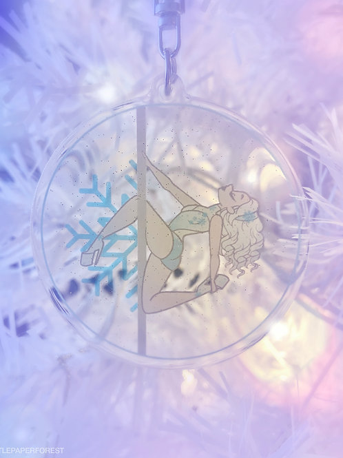Snowflake Acrylic Keychain with Glitter (White Hair)