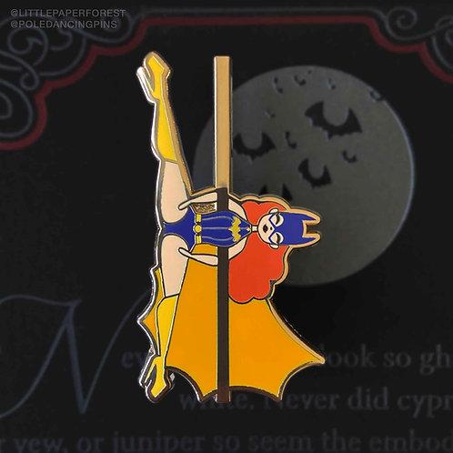 Batwing (Batgirl) Pole Dancing Gold Enamel Pin
