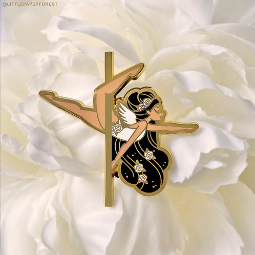 Eros (Black Hair/Light Skin) Pole Dancing Gold Enamel Pin